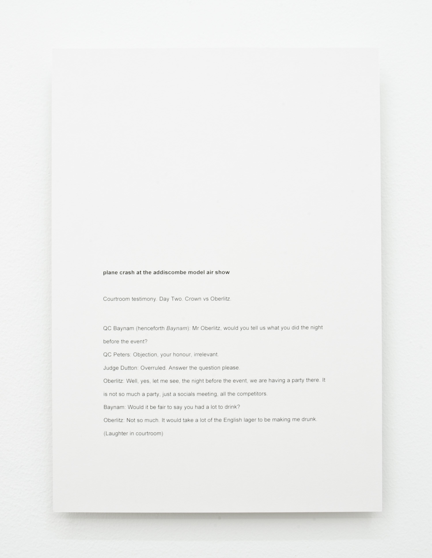 David L. Hayles, plane crash at the addiscombe model air show , 2014, laser print mounted on aluminium, 29.7 x 21cm.