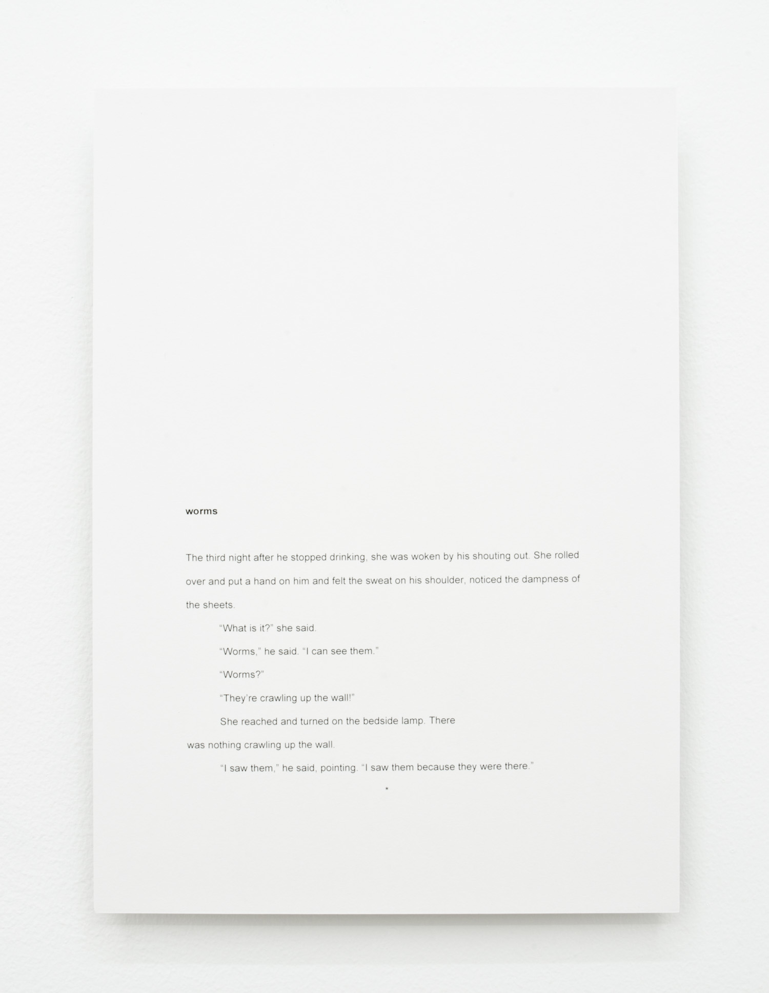 David L. Hayles, worms, 2014, laser print mounted on aluminium, 29.7 x 21cm.