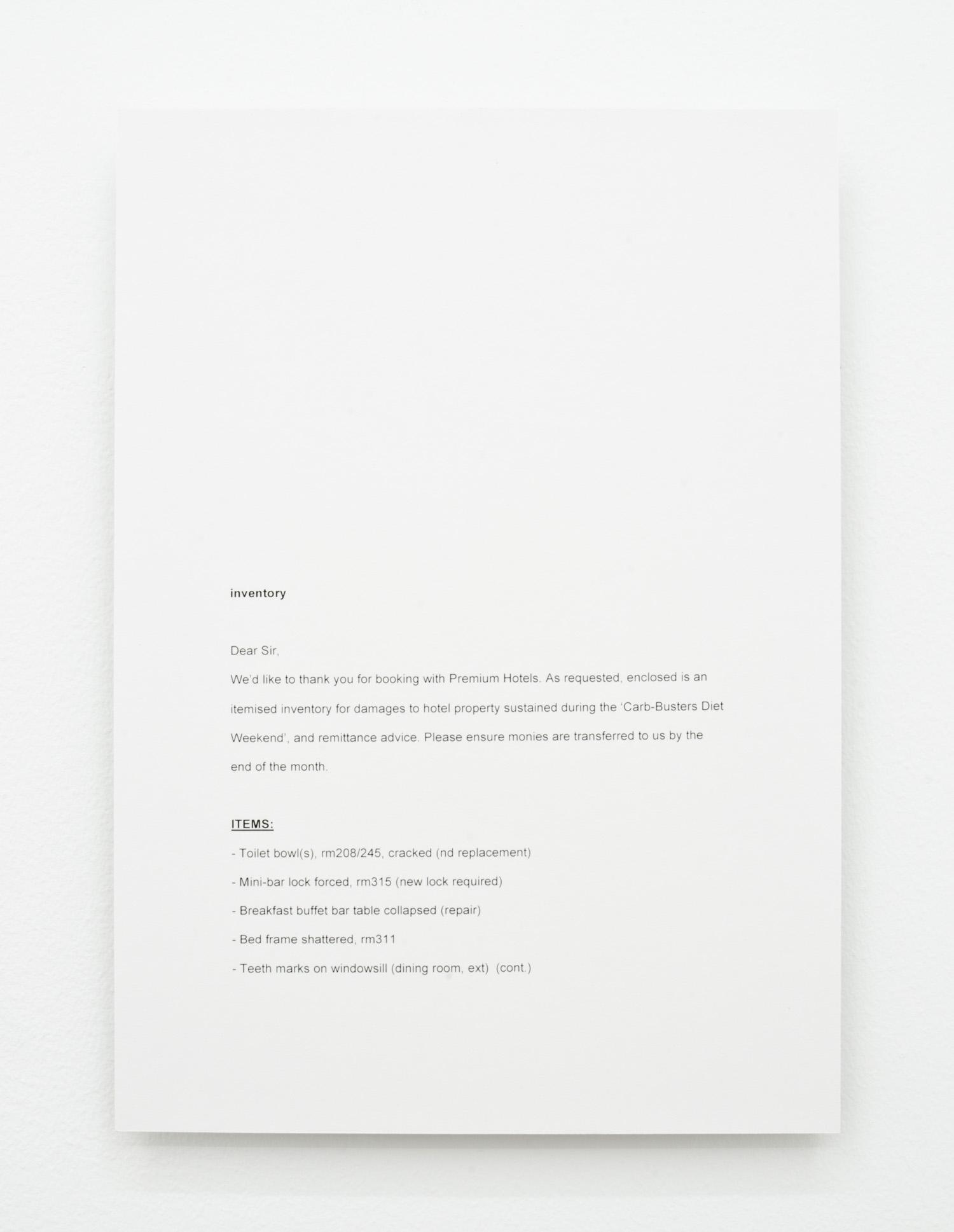 David L. Hayles, inventory, 2014, laser print mounted on aluminium, 29.7 x 21cm.