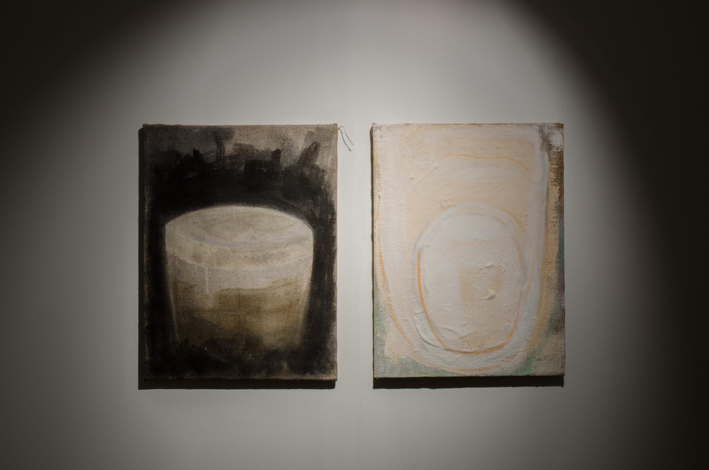 Gordon Schmidt, Leaver 3 (diptych) , 2014, oil, acrylic, plaster, emulsion, PVA on hessian, 61 x 101cm.