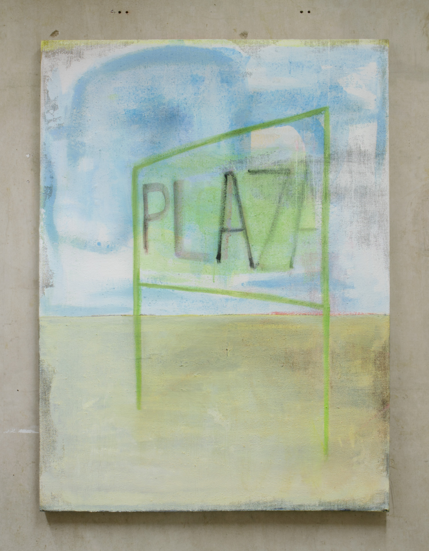 Plaza,  2015, 152 x 112 cm, acrylic, oil, emulsion and plaster on hessian.