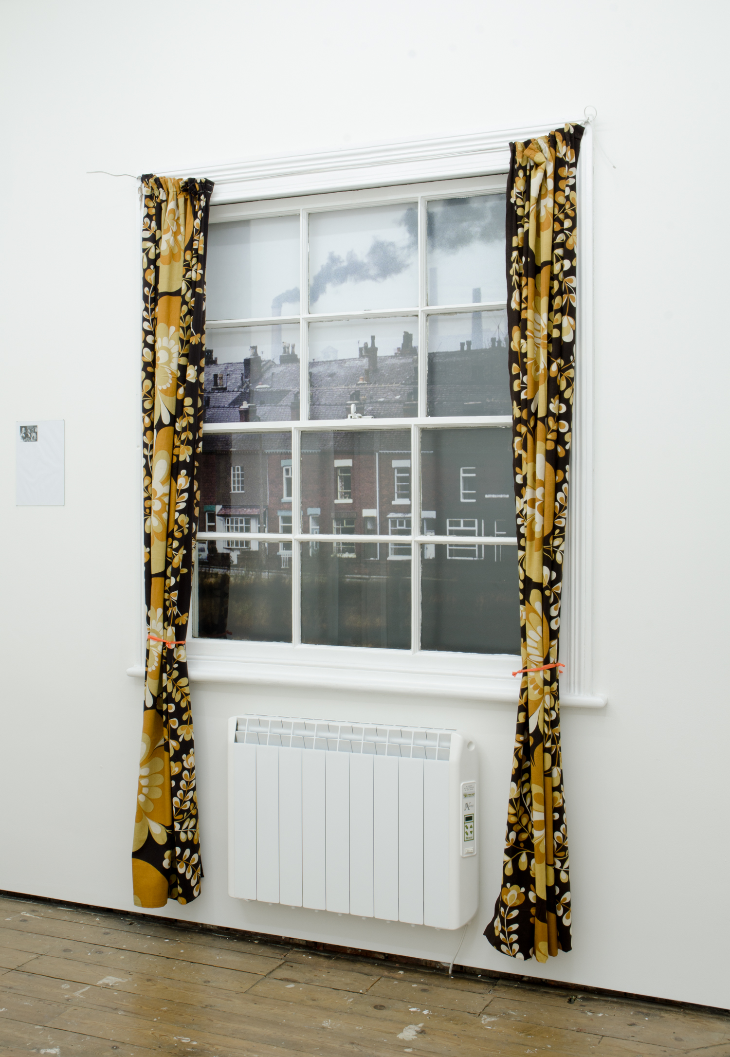 Andrew Munks  A window into 1976 (2) (Bulmer vision)  2016 Encapsulated inkjet print on wood panel, curtains, cable. Dimensions variable