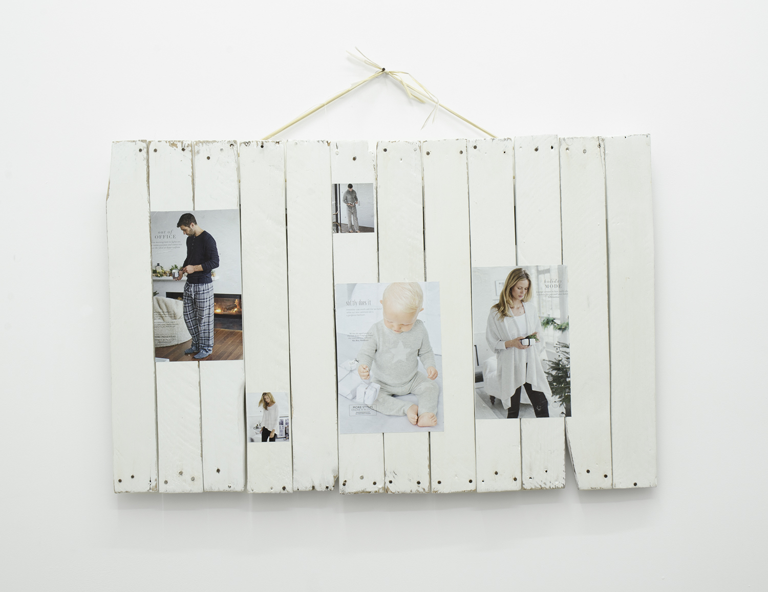 Timothy Davies   The White Company 2016   2016   Magazine cuttings, latex paint, plaster, beeswax polish, wood, synthetic raffia, rusty nail   50 x 76cm (60 x 76cm to nail)