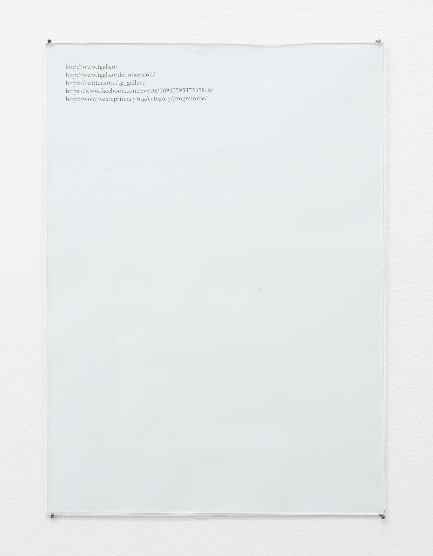 Christophe de Rohan Chabot   Untitled (Dépossession)     2016   Laser jet print, glass, nails,   29.1 x 21 x 0.2cm