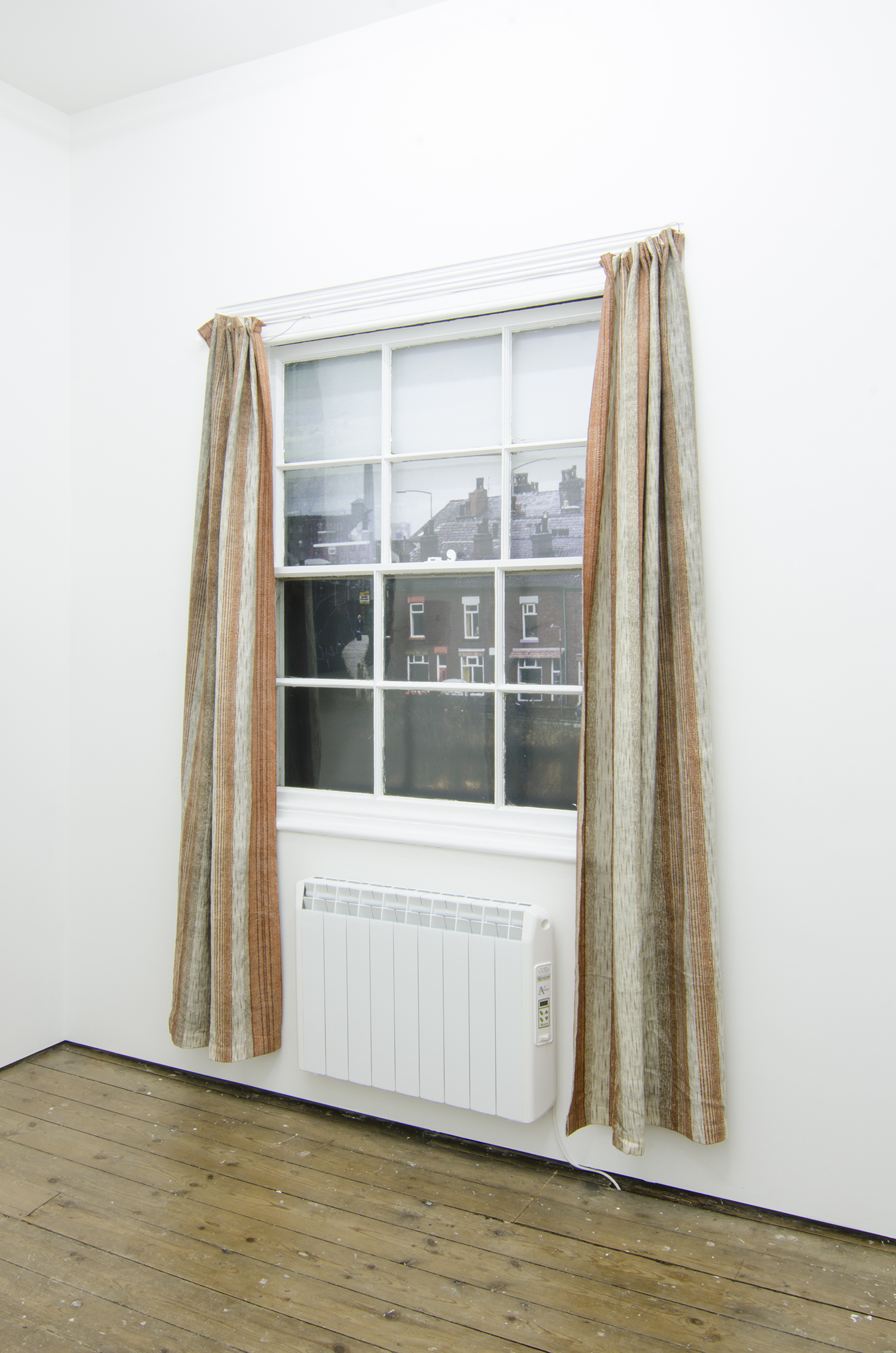 Andrew Munks   A window into 1976 (1) (Bulmer vision)   2016   Encapsulated inkjet print on wood panel, curtains, cable.   Dimensions variable
