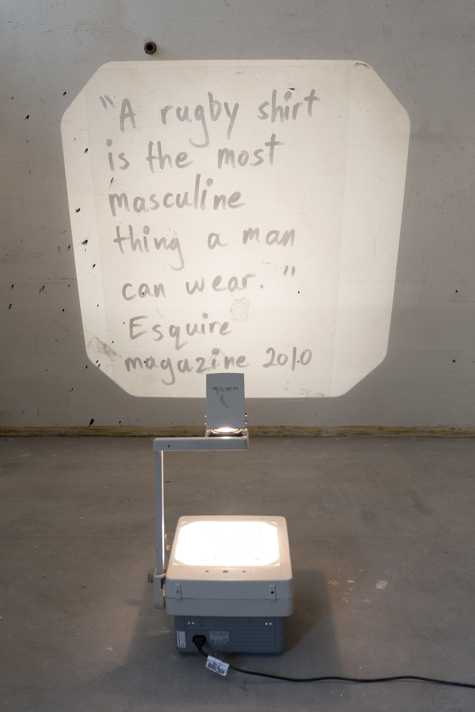 Alex Vivian  Magazine stuff (esquire quote)  2013/17 Acetate, permanent marker, overhead-projector Dimensions variable