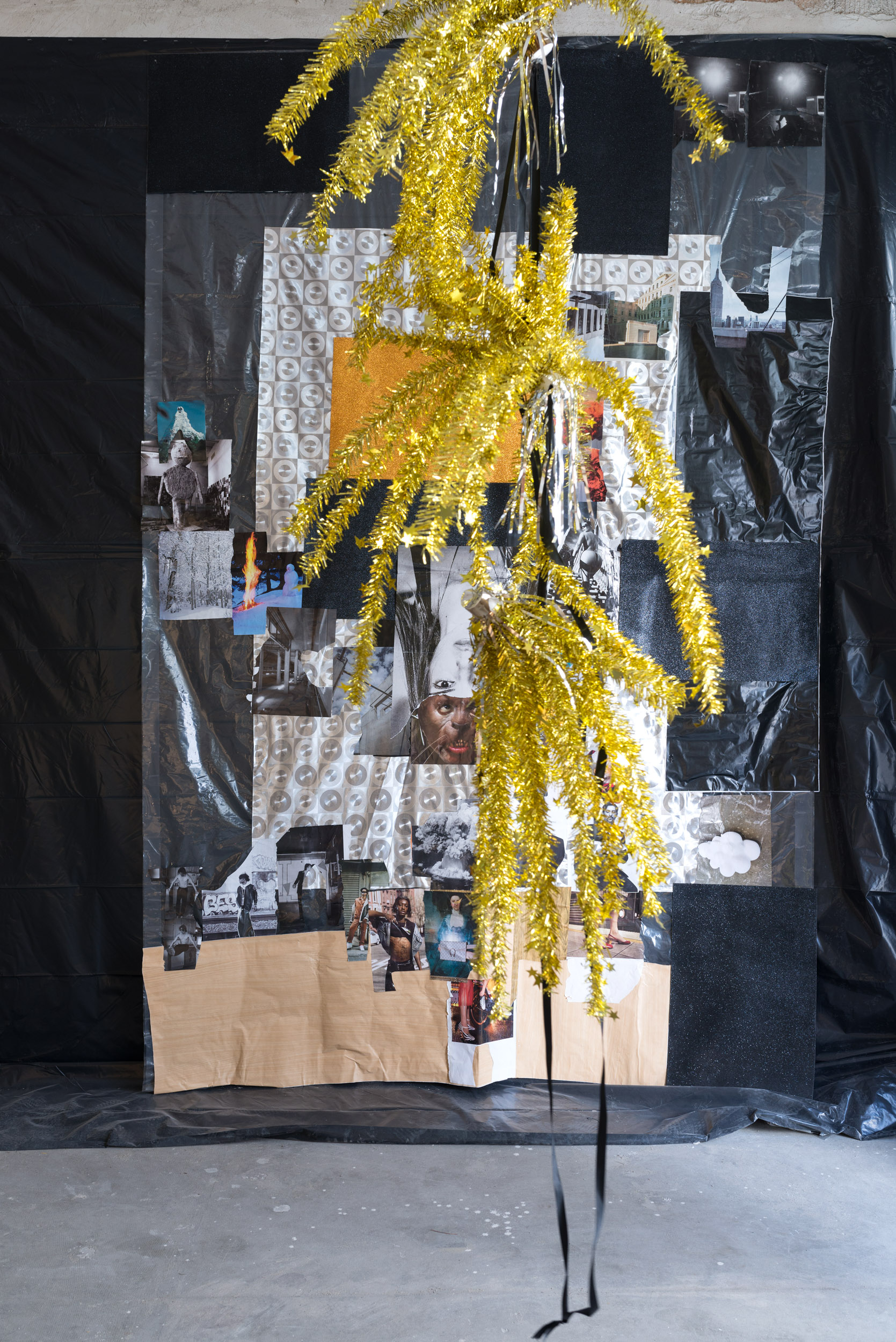 Jacqueline Fraser  THE MAKING OF A MOST VIOLENT YEAR 2017  2017 Collage on plastic sheeting, black plastic sheeting, 'tinsel' decorations & ribbon. Dimensions variable