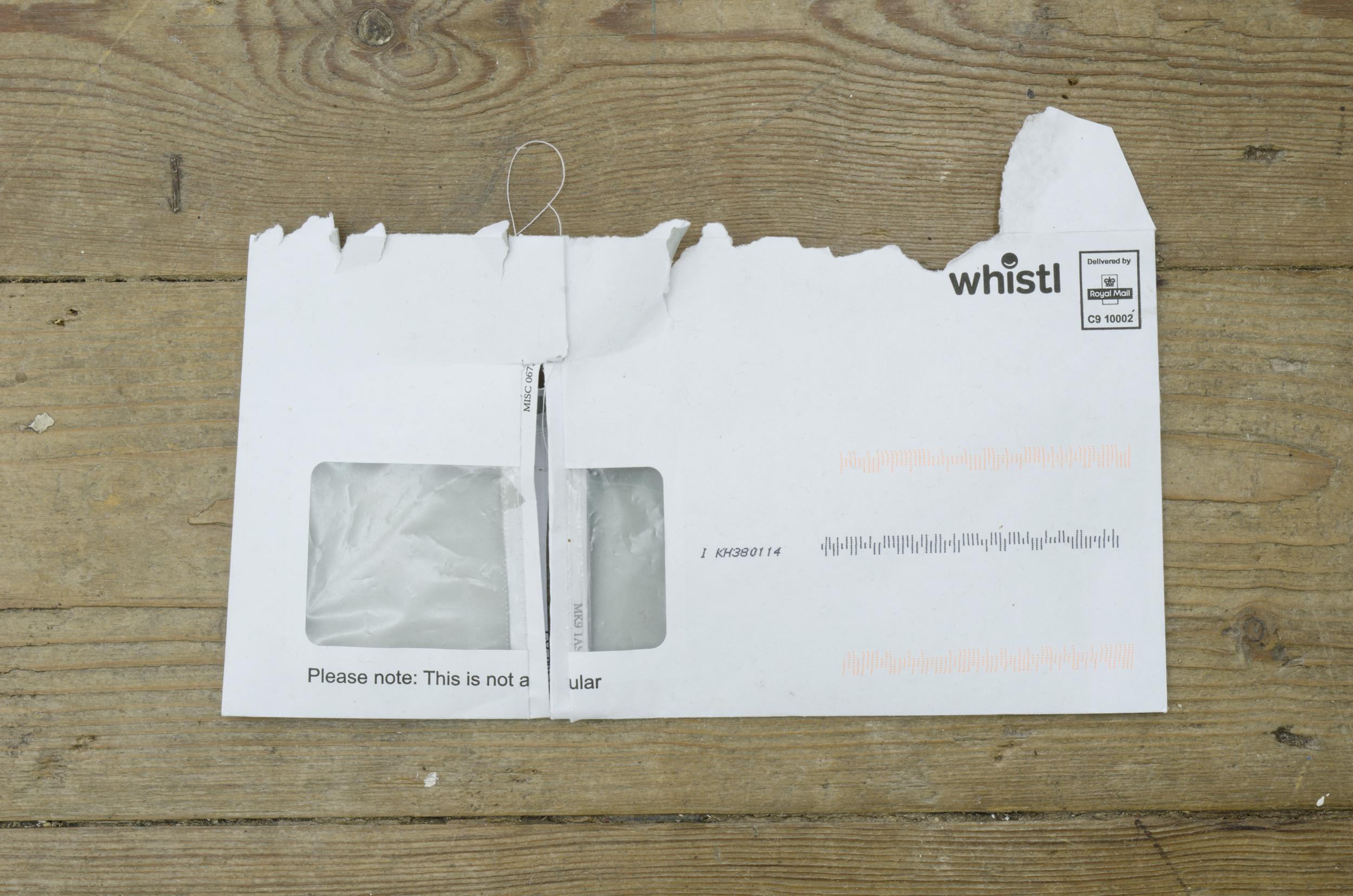 Welt (12)  2017 Found envelopes and thread. 13 x 22 cm