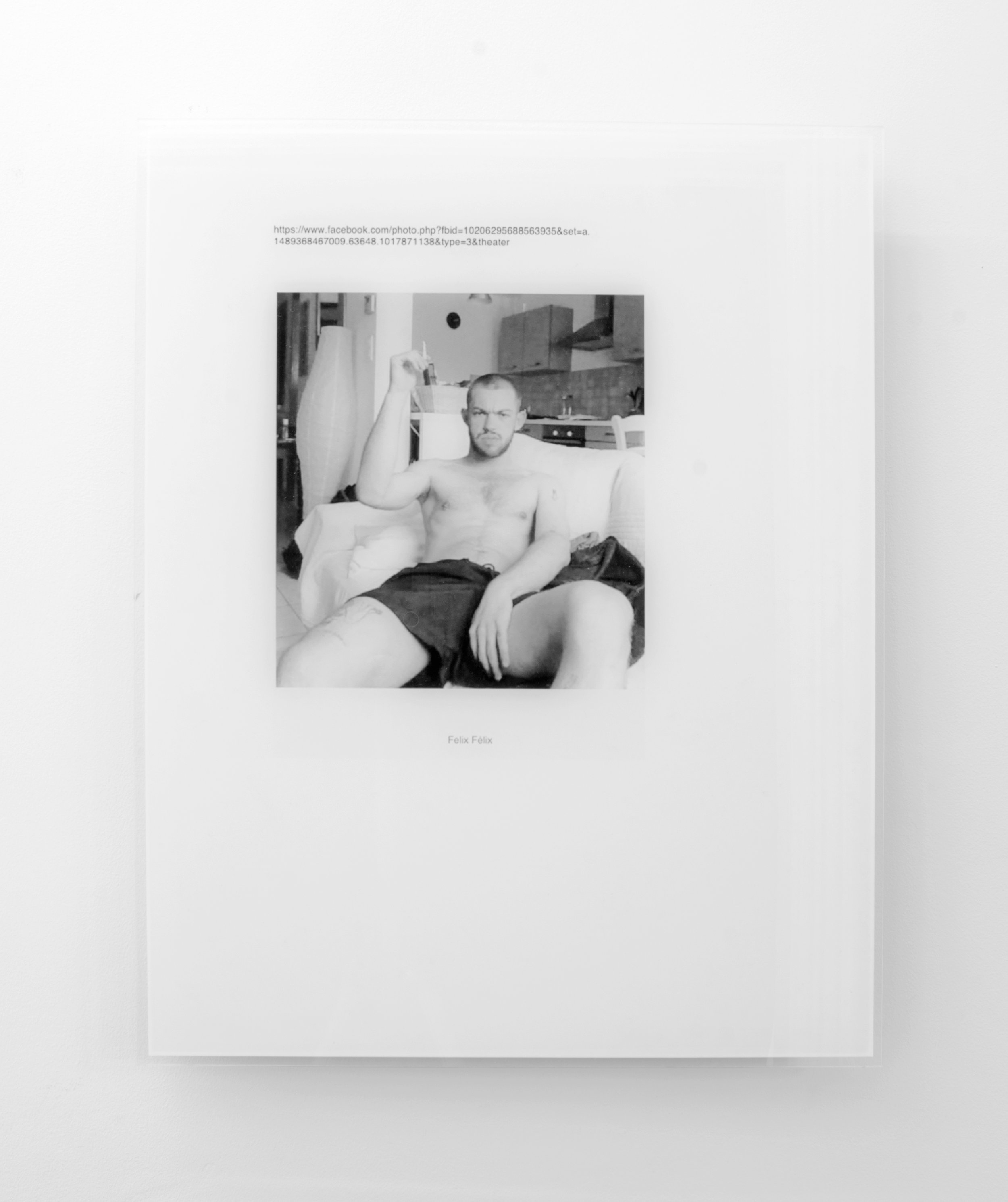Christophe de Rohan Chabot  Untitled (Felix Felix) , 2018 Acrylic reverse mounted digital print with aluminium substrate and subframe. 50 x 40 x 2.6 cm