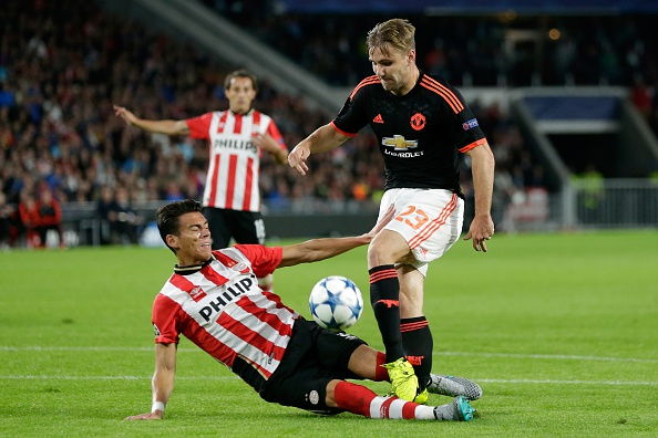 (L-R) Hector Moreno of PSV Eindhoven, Luke Shaw of Manchester United during the UEFA Champions League group B match between PSV Eindhoven and Manchester United on September 15, 2015 at the Philips stadium in Eindhoven, The Netherlands.(Photo by VI Images via Getty Images)