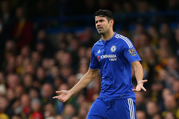 LONDON, ENGLAND - DECEMBER 26: Diego Costa of Chelsea shrugs his shoulders during the Barclays Premier League match between Chelsea and Watford at Stamford Bridge on December 26, 2015 in London, England. (Photo by Catherine Ivill - AMA/Getty Images)
