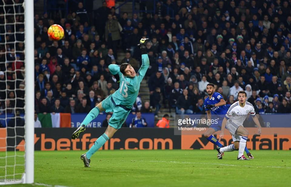 Mahrez's wonder-goal to beat Thibaut Courtois. (Photo via Getty Images)