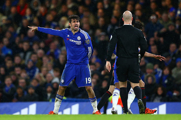 Costa probably talked to the referee for more time than he had the ball at his feet. (Photo via Getty Images)