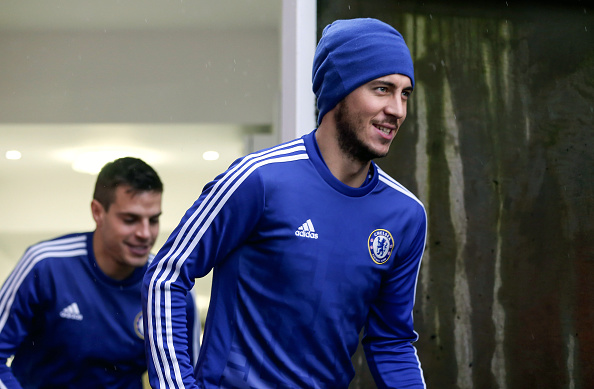 LONDON, ENGLAND - JANUARY 03: Eden Hazard of Chelsea comes out to warm up before the Barclays Premier League match between Crystal Palace and Chelsea at Selhurst Park on January 3, 2016 in London, England. (Photo by Catherine Ivill - AMA/Getty Images)