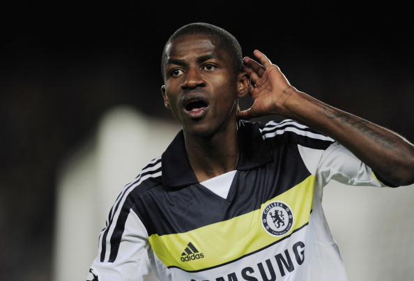Chelsea's Brazilian midfielder Ramires celebrates after scoring against Barcelona during the UEFA Champions League second leg semi-final football match Barcelona against Chelsea at the Cam Nou stadium in Barcelona on April 24, 2012. (JOSEP LAGO/AFP/Getty Images)