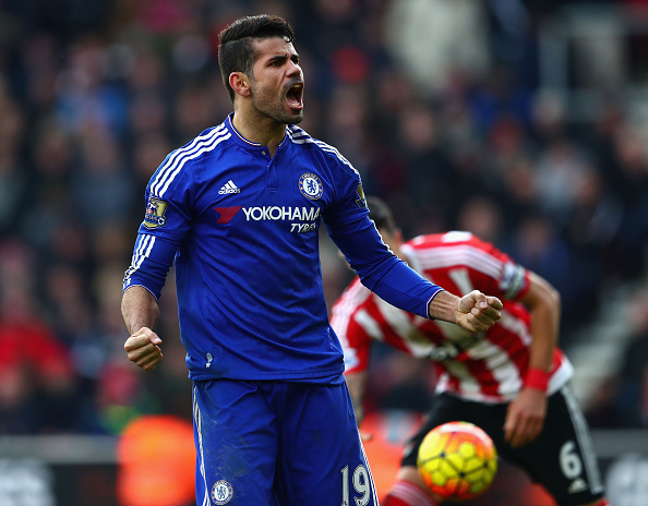 SOUTHAMPTON, ENGLAND - FEBRUARY 27: Diego Costa of Chelsea celebrates his team's second goal during the Barclays Premier League match between Southampton and Chelsea at St Mary's Stadium on February 27, 2016, in Southampton, England. (Photo by Clive Rose/Getty Images)