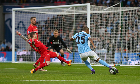 LONDON, ENGLAND - FEBRUARY 28 : Fernandinho of Manchester City steps up to score a goal to make it 0-1 during the Capital One Cup Final match between Liverpool and Manchester City at Wembley Stadium on February 28, 2016 in London, England. (Photo by Catherine Ivill - AMA/Getty Images)