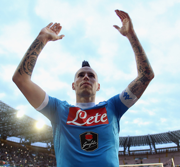 NAPLES, ITALY - FEBRUARY 07: Marek Hamsik of Napoli celebrates after the Serie A match between SSC Napoli and Carpi FC at Stadio San Paolo on February 7, 2016 in Naples, Italy. (Photo by Maurizio Lagana/Getty Images)