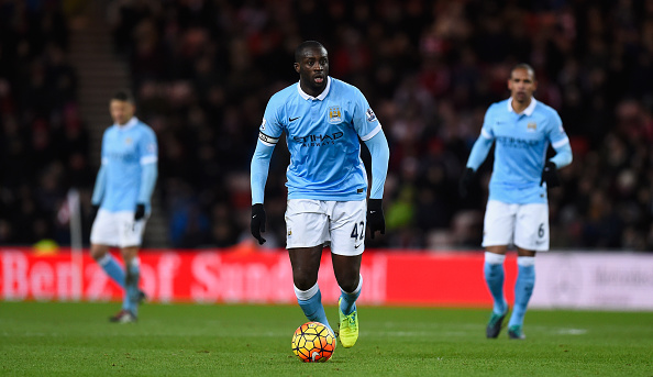 SUNDERLAND, ENGLAND - FEBRUARY 02: Yaya Toure of Manchester City in action during the Barclays Premier League match between Sunderland and Manchester City at the Stadium of Light on February 2, 2016 in Sunderland, England (Photo by Stu Forster/Getty Images)
