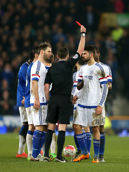 Costa sees his second yellow and a red card as a consequence. (Photo by Chris Brunskill/Getty Images)
