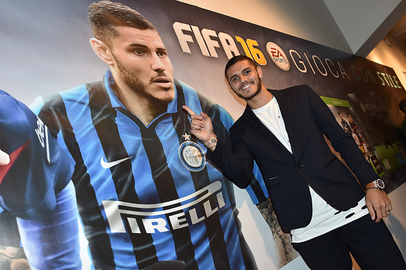 MILAN, ITALY - SEPTEMBER 21: Mauro Icardi of FC Internazionale attends the EA Sports FIFA 16 event on September 21, 2015 in Milan, Italy. (Photo by Tullio Puglia - Inter/Inter via Getty Images)