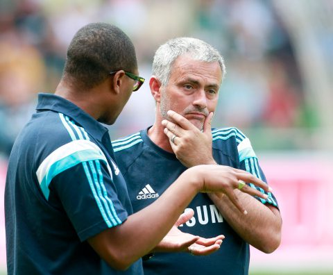 Mourinho and Emenalo chatting during a pre-season friendly game in 2014.(Photo by Martin Stoever/Bongarts/Getty Images)
