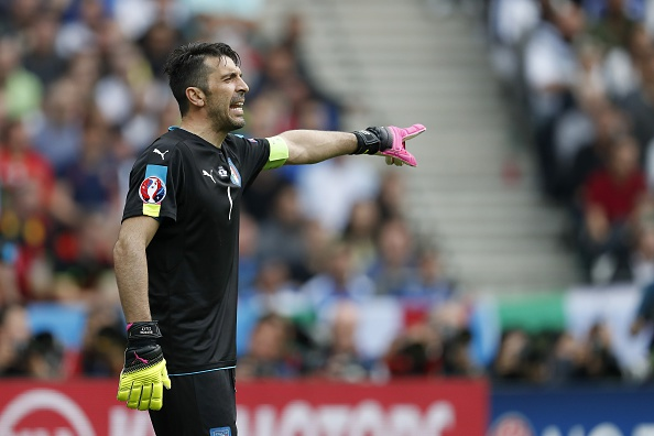 Buffon leads his team from the back, shouting and yelling orders. (Photo by VI Images via Getty Images)