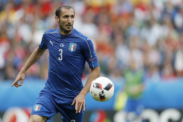 Chiellini turned in one of his best performances ever in an Italy jersey against Spain. (Photo by VI Images via Getty Images)