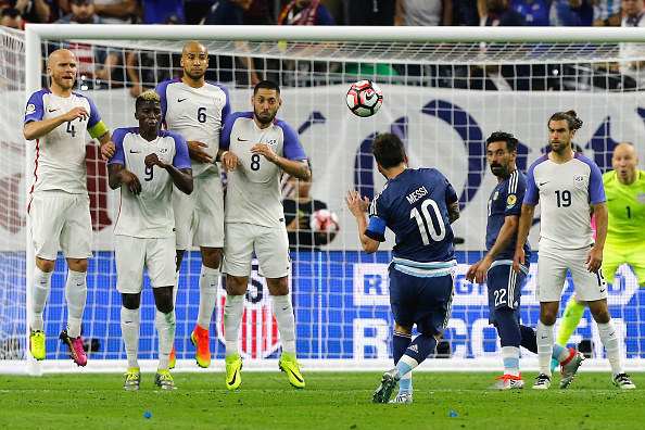 Messi's genius free-kick puts him as the best talisman for his country on record. (Photo by Bob Levey/Getty Images)