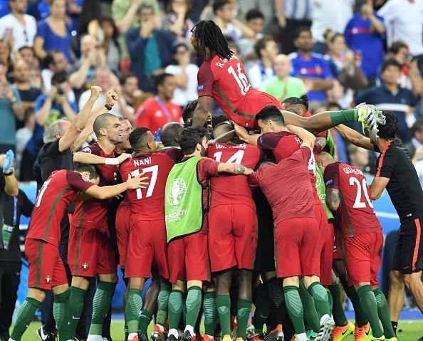 Scenes after Portugal broke the deadlock.  ( Photo by Mustafa Yalcin/Anadolu Agency/Getty Images)