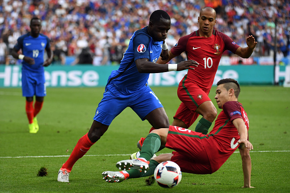 Sissoko was France's best player for most of the game, constantly making marauding runs through the Portuguese defence.   (Photo by Stanley Chou/Getty Images)
