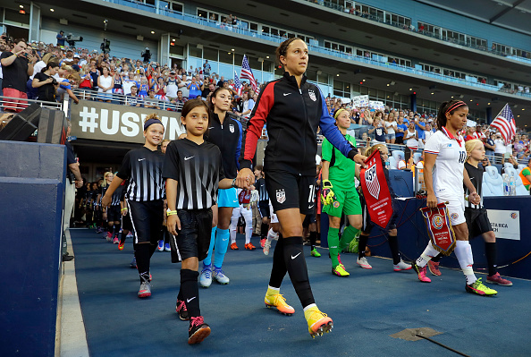 The U.S. Women's National Team walks out onto the field ahead of their match against Costa Rica. (Photo by Jamie Squire/Getty Images)