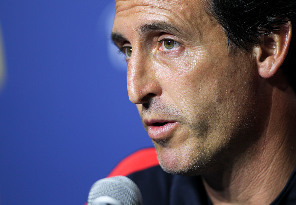Unai Emery, PSG's new manager, speaks to the press ahead of the side's game against Leicester in the ICC. (Photo by RINGO CHIU/AFP/Getty Images)