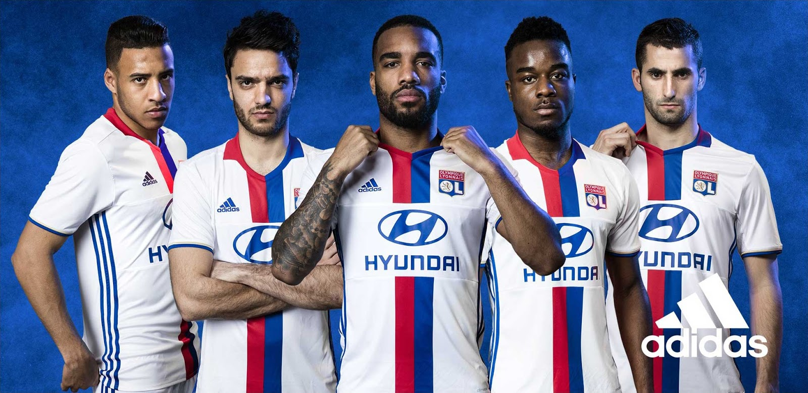 Lyon's players seeing how they fare in the new shirt. (Photo via  adidas )