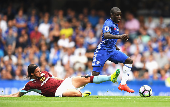 Kante regains possession from George Boyd. (Photo by Darren Walsh/Getty Images)