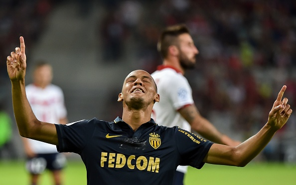 Fabinho--a MU target, reportedly--celebrates scoring Monaco's 3rd goal. (Photo Philippe Huguen/AFP/Getty Images)