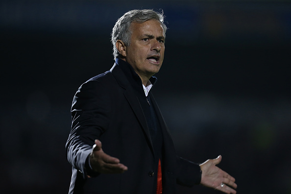 Jose Mourinho during MU's game in the EFL Cup. (Photo by Pete Norton/Getty Images)