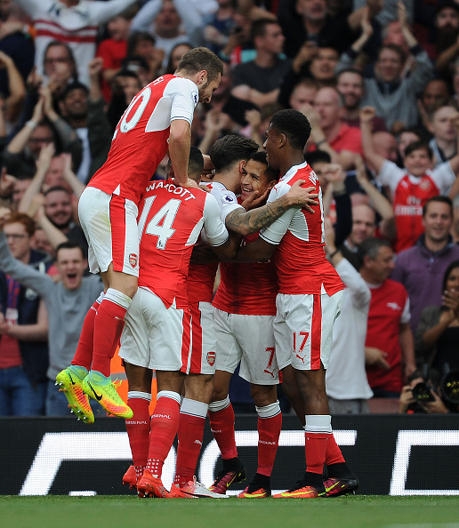 Arsenal celebrates scoring their first goal. (Photo by Stuart MacFarlane/Arsenal FC via Getty Images)