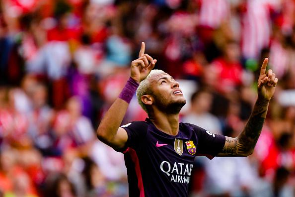 Neymar stole the show in Messi's absence. (Photo by Jose Manuel Alvarez Rey/NurPhoto via Getty Images)