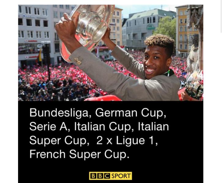 Kingsley Coman's vast number of trophies. (Photo via  BBC )