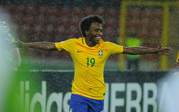 Willian scored in Brazil's qualifier game against Venezuela. (Photo by Jean Carlos Ramos/LatinContent/Getty Images)