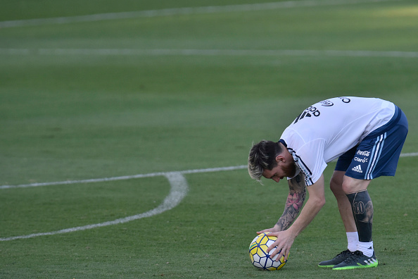 Argentina fans will be relieved to see Messi back with the national team. But how will he fare in this game up against his club teammate Neymar's Brazil? (Photo by DOUGLAS MAGO/AFP/Getty Images)