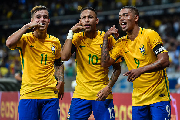 Coutinho celebrating his sumptuous strike against Argentina with Neymar and Gabriel Jesus. (Photo by Pedro Vilela/Getty Images)