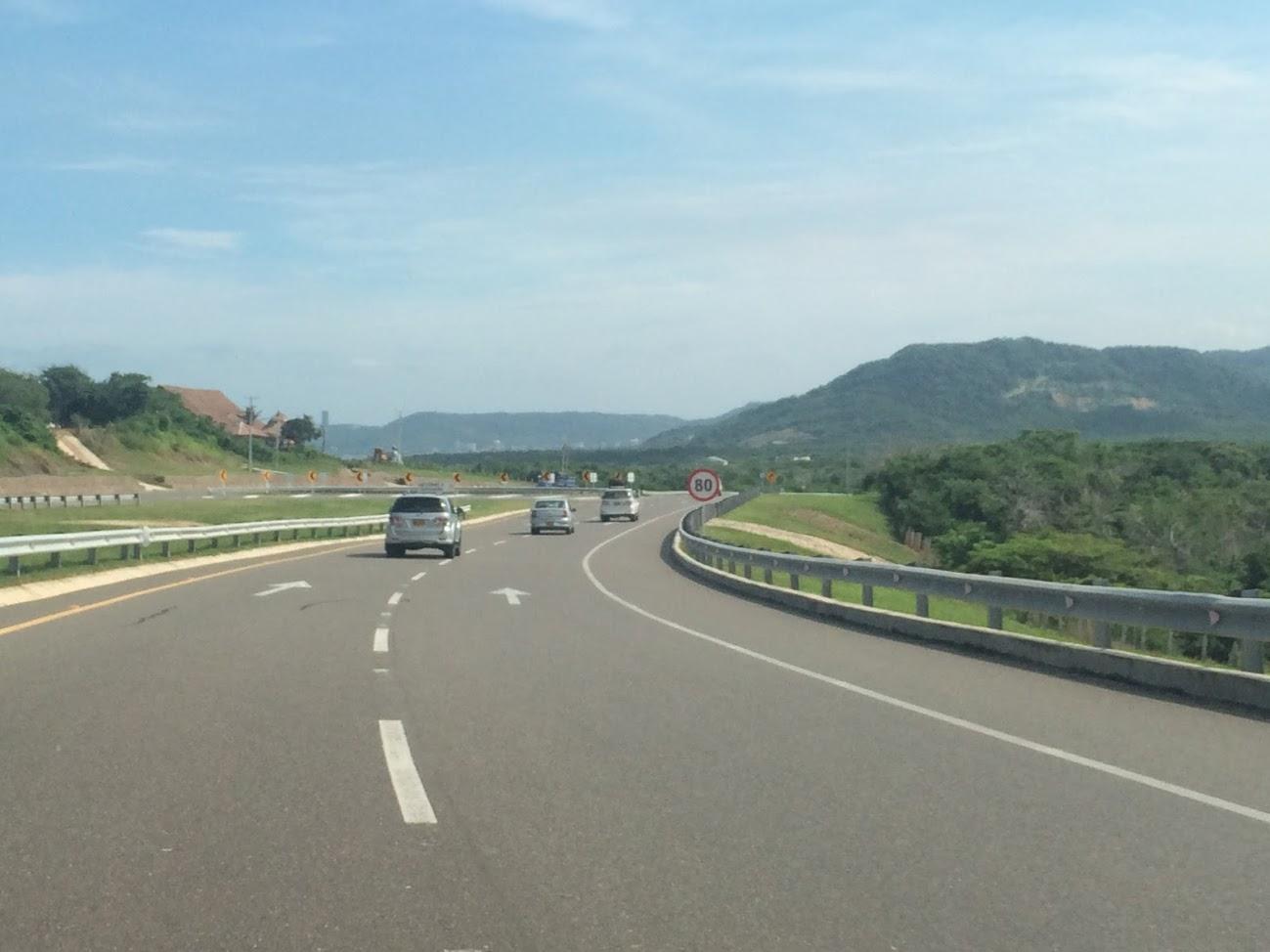 The roadside scenery was beautiful.