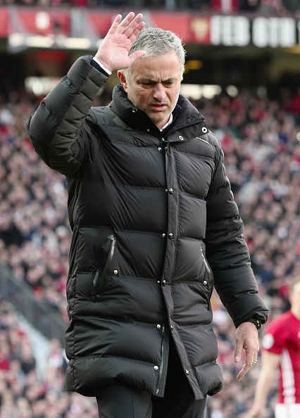 Mourinho reacts disgustedly as a decision is given against his side for a penalty claim. (Photo by John Peters/Manchester United FC via Getty Images)