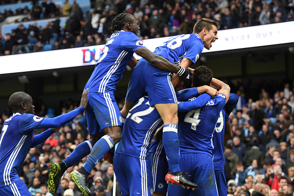 Chelsea's players celebrate the killer-blow executed by Eden Hazard. (Photo by Darren Walsh/Getty Images)