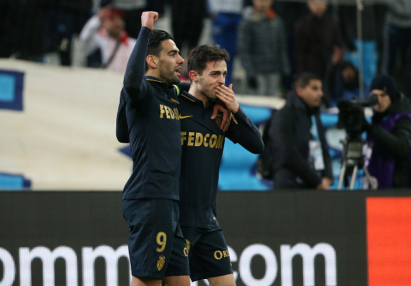 Falcao, who's suddenly back in form, and Bernardo Silva celebrate one of Monaco's goals in the 4-1 victory over Marseille. (Photo by Alexandre Dimou/Getty Images)
