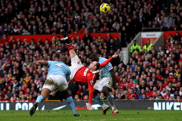 Rooney's bicycle kick against City is one of the most instantly recognizable goals in football history. (Photo by Alex Livesey/Getty Images)