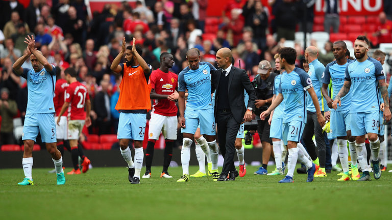 Guardiola after City's 2-1 victory in the Manchester Derby. (Photo via Getty Images)