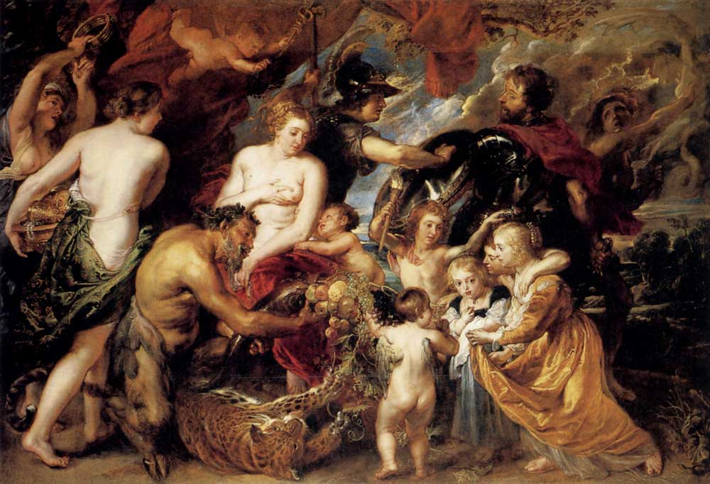 """""""Peace & War"""" by Peter Paul Rubens.Minerva, Goddess of Wisdom, holds back Mars, God of War, along with Furry allowing Peace to bring abundance."""